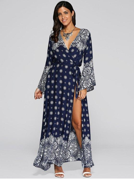 Bell Sleeve High Slit Maxi Boho Wrap Dress - BLUE ONE SIZE Mobile