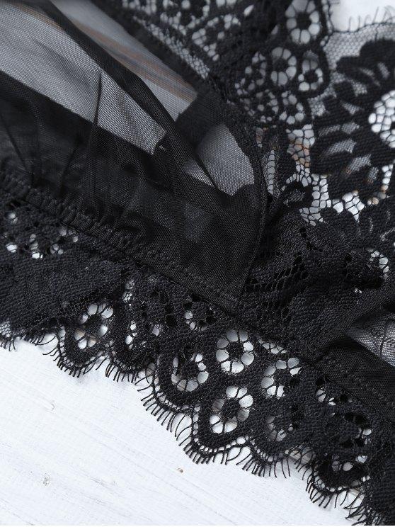 Scalloped Eyelash Lace Bra Set - BLACK M Mobile