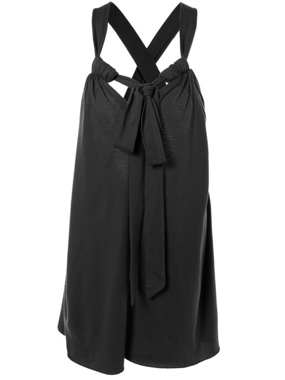 latest Halter Cross Back Cami Shift Dress - BLACK L