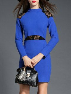 Long Sleeve Lace Insert Dress - Blue S