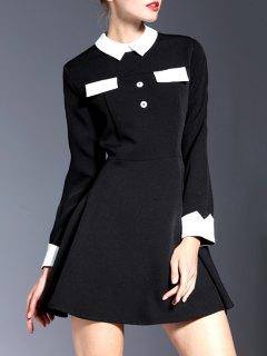 Contrasting Collar Long Sleeve Mini Dress - Black S