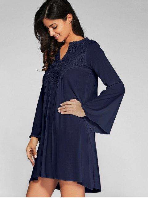 fashion Flare Sleeve Trapeze Dress - CADETBLUE S Mobile