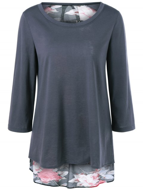 ladies Flower Pattern Layered Blouse - DEEP GRAY XL Mobile