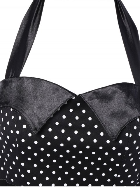 outfits Halter Bowknot Polka Dot Pencil Dress - BLACK S Mobile