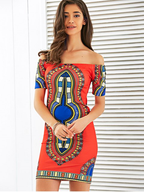 latest Off The Shoulder Totem Print Bodycon Dress - RED M Mobile