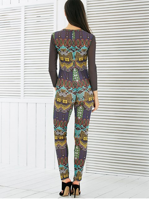 latest See-Through Mesh Spliced Printed Jumpsuit - COLORMIX M Mobile