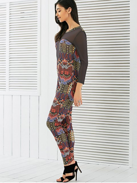 chic Long Sleeve Mesh Spliced Printed Jumpsuit - MULTI M Mobile