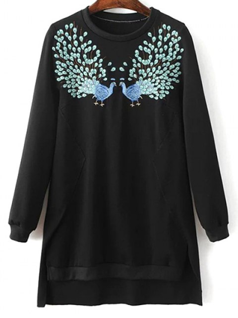 outfit High Low Embroidered Sweatshirt - BLACK L Mobile