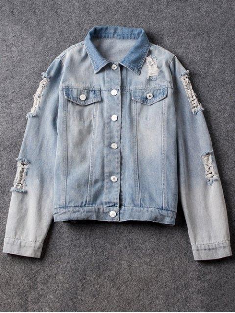 womens Point Collar Ripped Denim Jacket - LIGHT BLUE M Mobile
