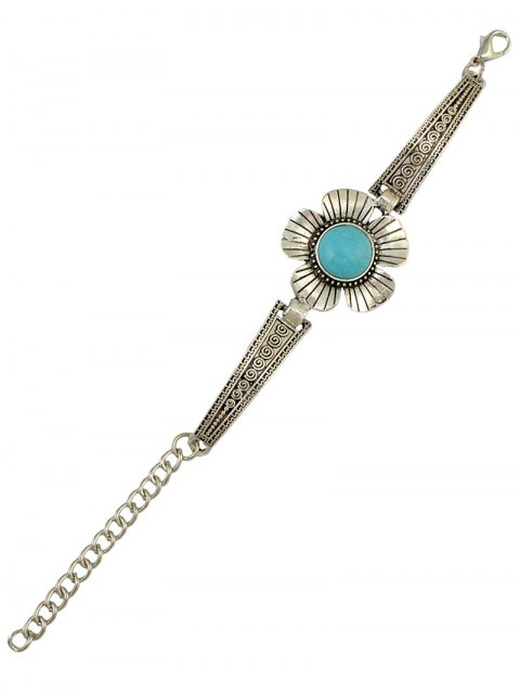 outfit Fake Turquoise Floral Bracelet - SILVER  Mobile