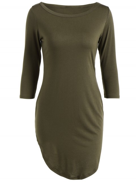 affordable Casual Round Neck 3/4 Sleeve Side Slit T-Shirt Dress - ARMY GREEN S Mobile