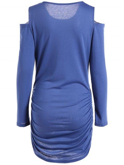 buy Round Neck Cold Shoulder Ruched T-Shirt Dress - BLUE L Mobile