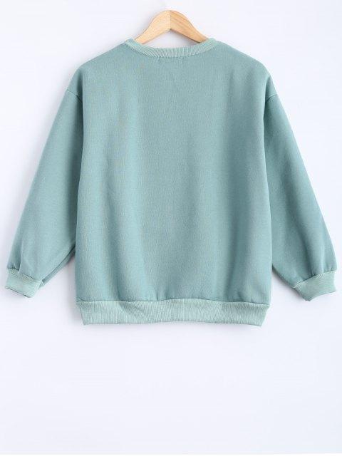 fashion Round Neck Patch Design Sweatshirt - MINT GREEN XL Mobile