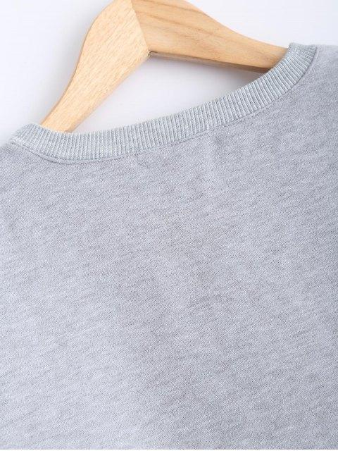 shops Round Neck Patch Design Sweatshirt - GRAY L Mobile