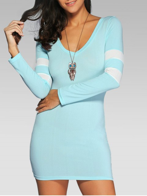 online V Neck Stripes Bodycon T Shirt Dress - LIGHT BLUE S Mobile