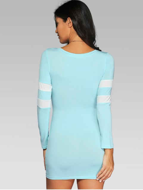 best V Neck Stripes Bodycon T Shirt Dress - LIGHT BLUE M Mobile