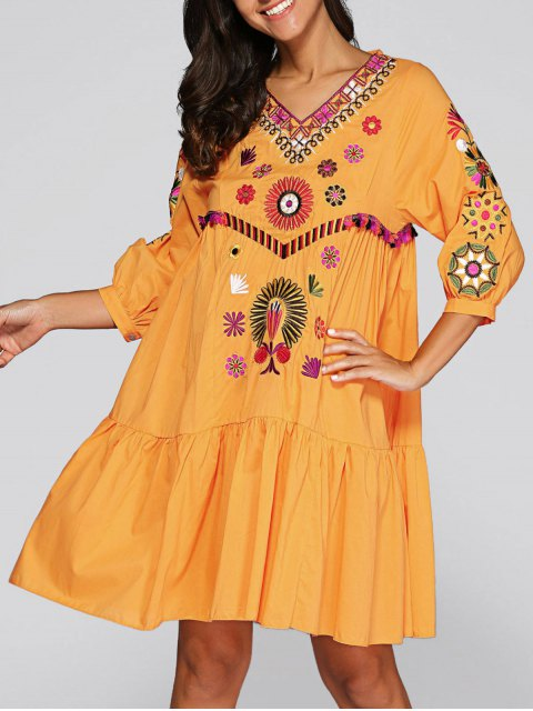 ladies Embroidered Smock Dress - GINGER M Mobile