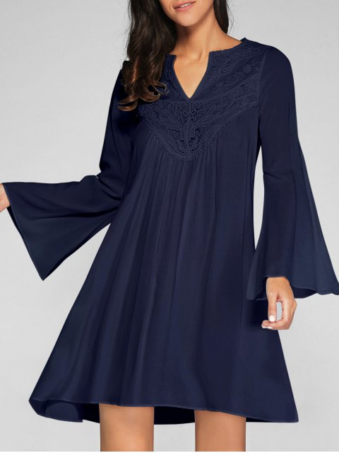 shops Flare Sleeve Trapeze Dress - CADETBLUE XL Mobile