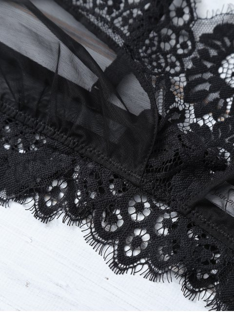 womens Scalloped Eyelash Lace Bra Set - BLACK M Mobile