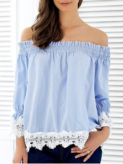 women's Off The Shoulder Striped Lace Panel Blouse - STRIPE L Mobile