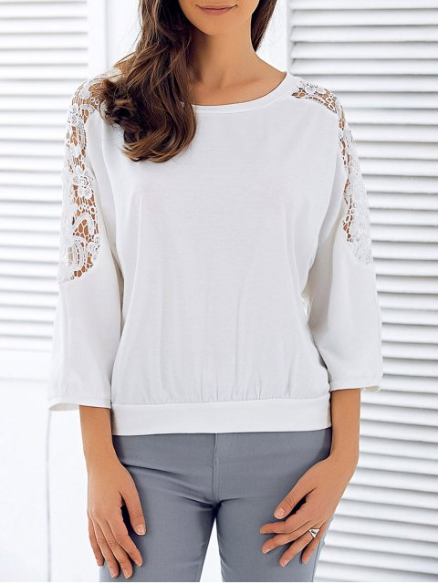 women's 3/4 Sleeve Openwork Lace Spliced T-Shirt - WHITE XL Mobile