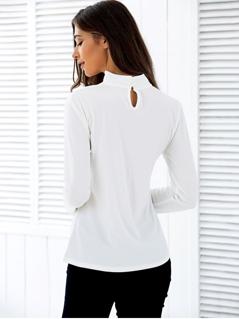 outfit Stand Neck Long Sleeve Cutout T-Shirt - WHITE S Mobile