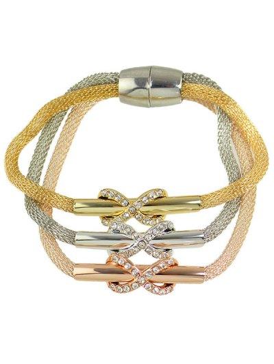 Alloy Rhinestone Infinity Layered Bracelet - COLORMIX  Mobile
