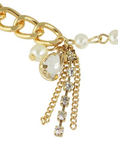 Artificial Pearl Water Drop Charm Bracelet - GOLDEN  Mobile