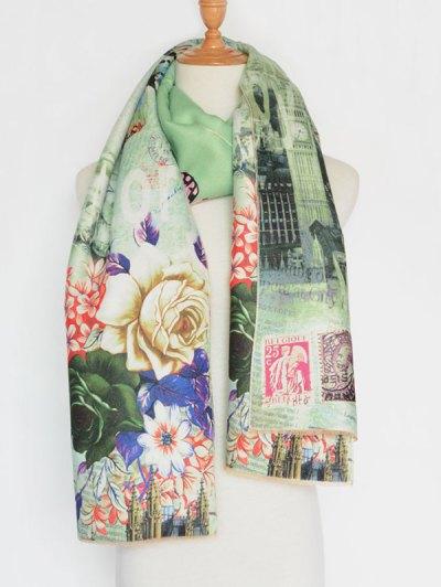 Vintage Big Flower Printing Cotton Shawl Scarf - GREEN  Mobile
