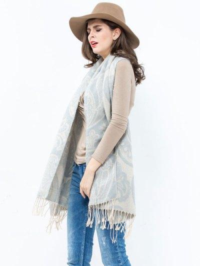 Winter Floral Pattern Printed Tassel Wrap Shawl Pashmina - LIGHT GRAY  Mobile