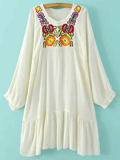 Embroidered Long Sleeve Flounced Dress - White