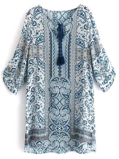 Printed V Neck 3/4 Sleeve Dress - S