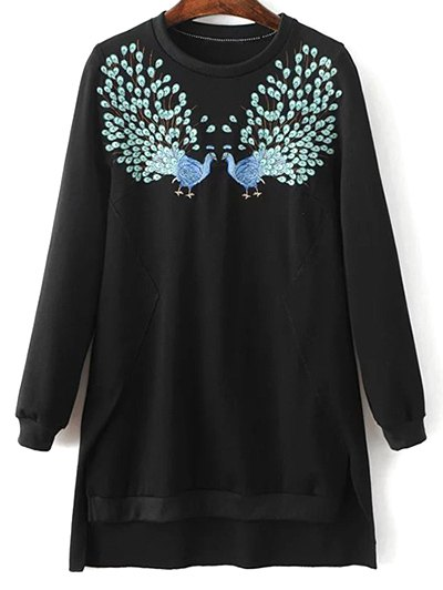 High Low Embroidered Sweatshirt - Black