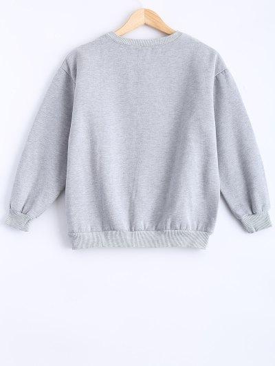 Round Neck Patch Design Sweatshirt - GRAY L Mobile