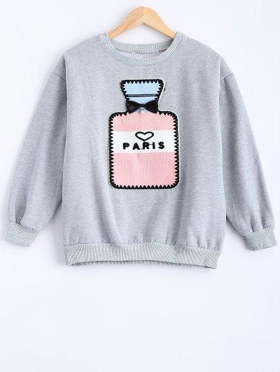 Round Neck Patch Design Sweatshirt - GRAY M Mobile