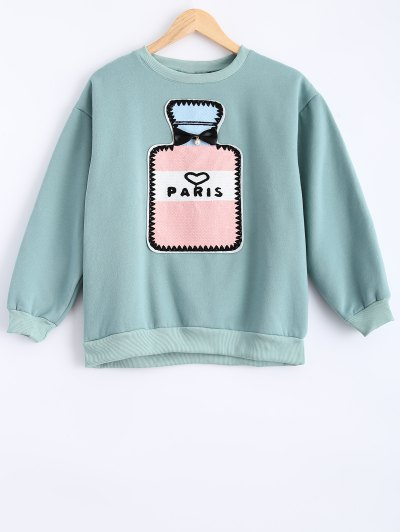Round Neck Patch Design Sweatshirt - MINT GREEN XL Mobile