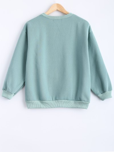 Round Neck Patch Design Sweatshirt - MINT GREEN S Mobile