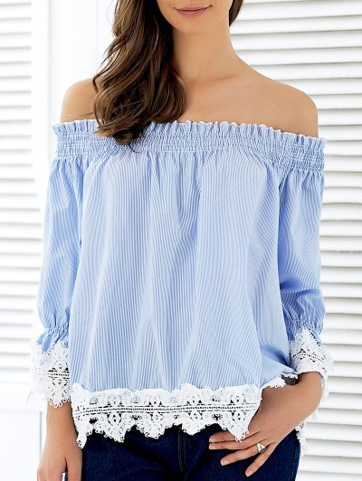 Off The Shoulder Puff Sleeve Striped Lacing Blouse - STRIPE L Mobile