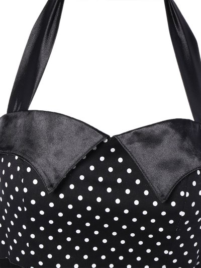 Halter Bowknot Polka Dot Pencil Dress - BLACK S Mobile
