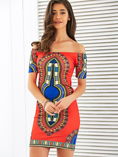 Off The Shoulder Totem Print Bodycon Dress - RED M Mobile