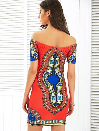 Off The Shoulder Totem Print Bodycon Dress - RED S Mobile