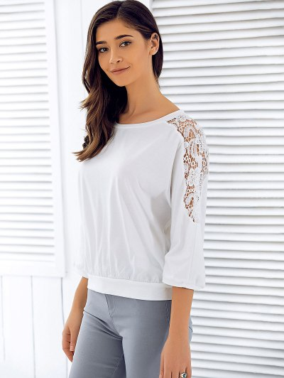 3/4 Sleeve Openwork Lace Spliced T-Shirt - WHITE XL Mobile