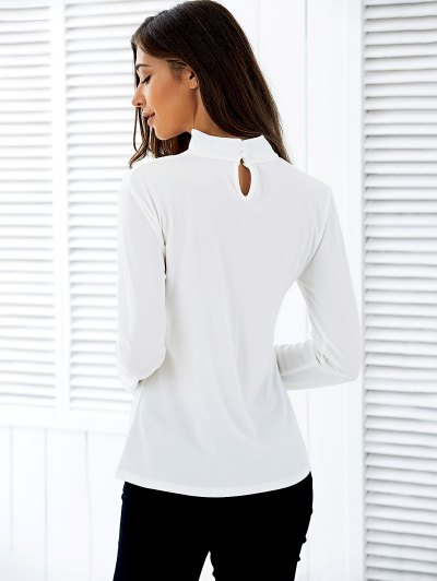 Stand Neck Long Sleeve Cutout T-Shirt - WHITE M Mobile