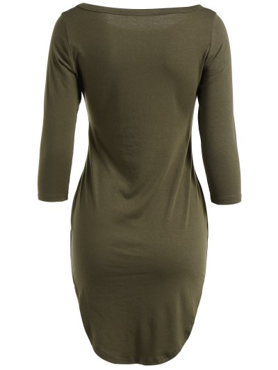 Casual Round Neck 3/4 Sleeve Side Slit T-Shirt Dress - ARMY GREEN S Mobile