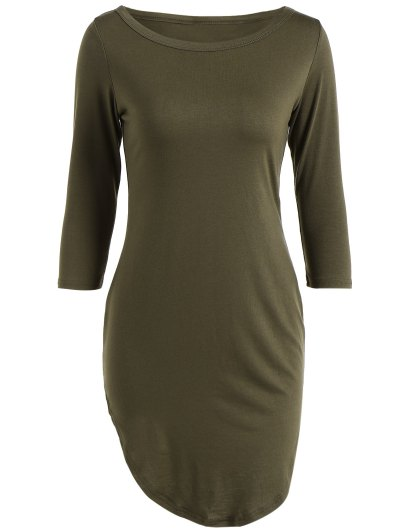 Casual Round Neck 3/4 Sleeve Side Slit T-Shirt Dress - ARMY GREEN XL Mobile