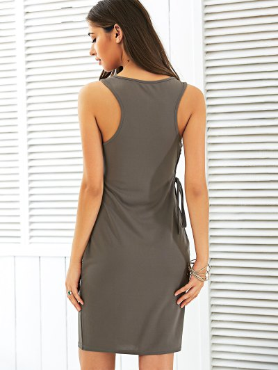 Letter Print Side Lace Up Dress - COFFEE M Mobile