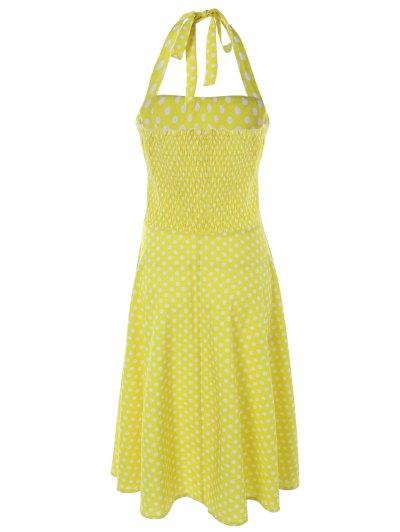 Vintage Halter Polka Dot Empire Waist Dress - YELLOW XL Mobile