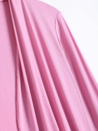 Long Sleeve Irregular Hem Long Cardigan - PINK M Mobile