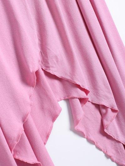 Long Sleeve Irregular Hem Long Cardigan - PINK L Mobile