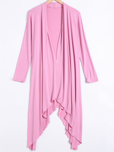 Long Sleeve Irregular Hem Long Cardigan - PINK XL Mobile